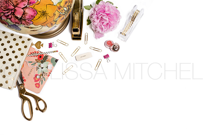 Pink Peony & Globe Styled Stock Photo| Blank White Desktop